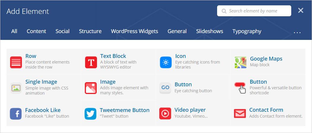 많이 사용되는 비주얼 컴포저 요소 12가지 – Row, Text Block, Icon, Google Maps, Single Image, Image, Button1, Button2, Facebook Like, Tweetmeme Button, Video player, Contact Form