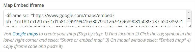 Google Maps Settings 화면 - Map Embed Iframe