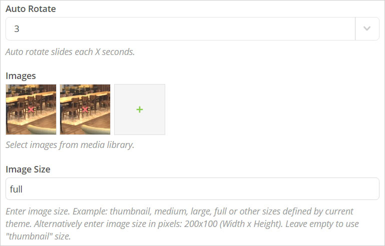 Image Gallery Settings 화면 - Auto Rotate, Images, Image Size