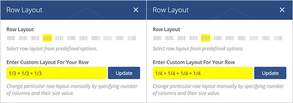 STORY 영역과 MENU 영역의 열의 넓이를 지정 하는 Row Layout 화면
